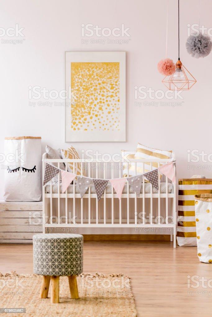 Newborn room in scandinavian style stock photo