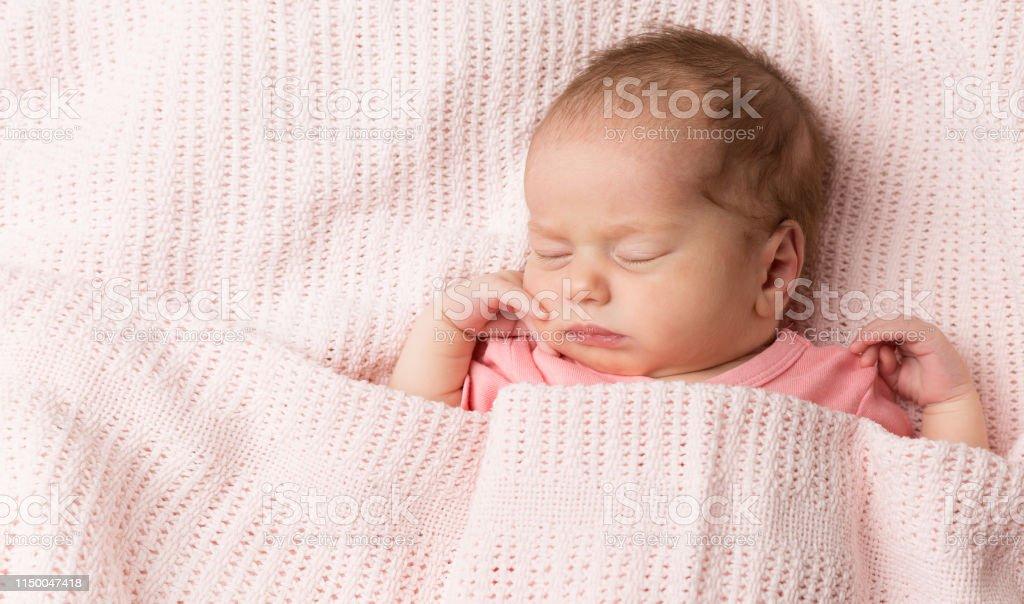 Newborn Sleeping Baby Girl Sleep In Bed Beautiful New Born Kid Asleep Covered Blanket Stock Photo Download Image Now Istock