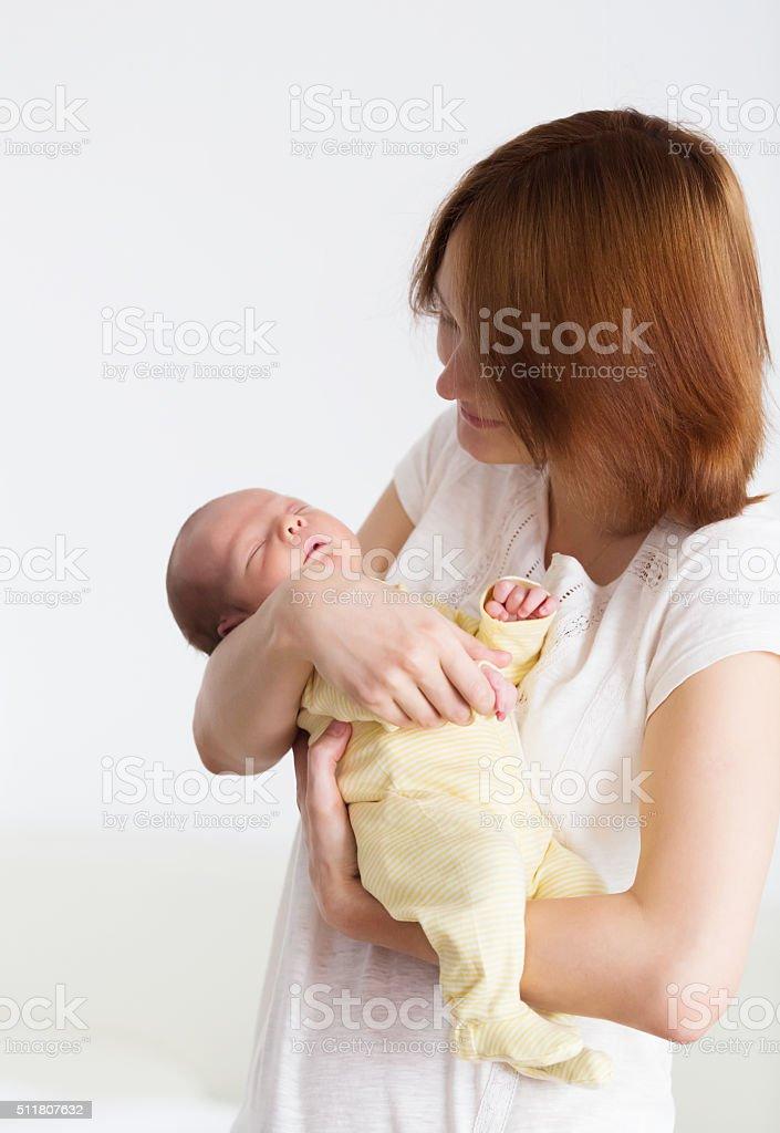 Newborn sleeping child stock photo