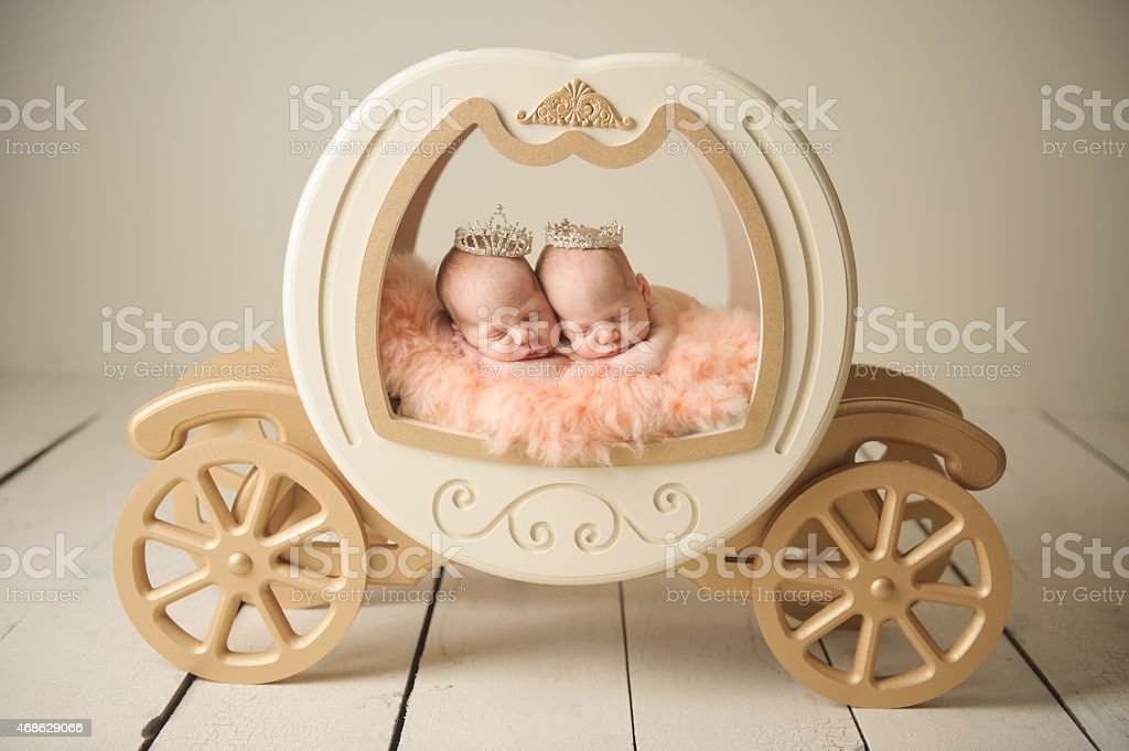 Newborn Twin Girls stock photo