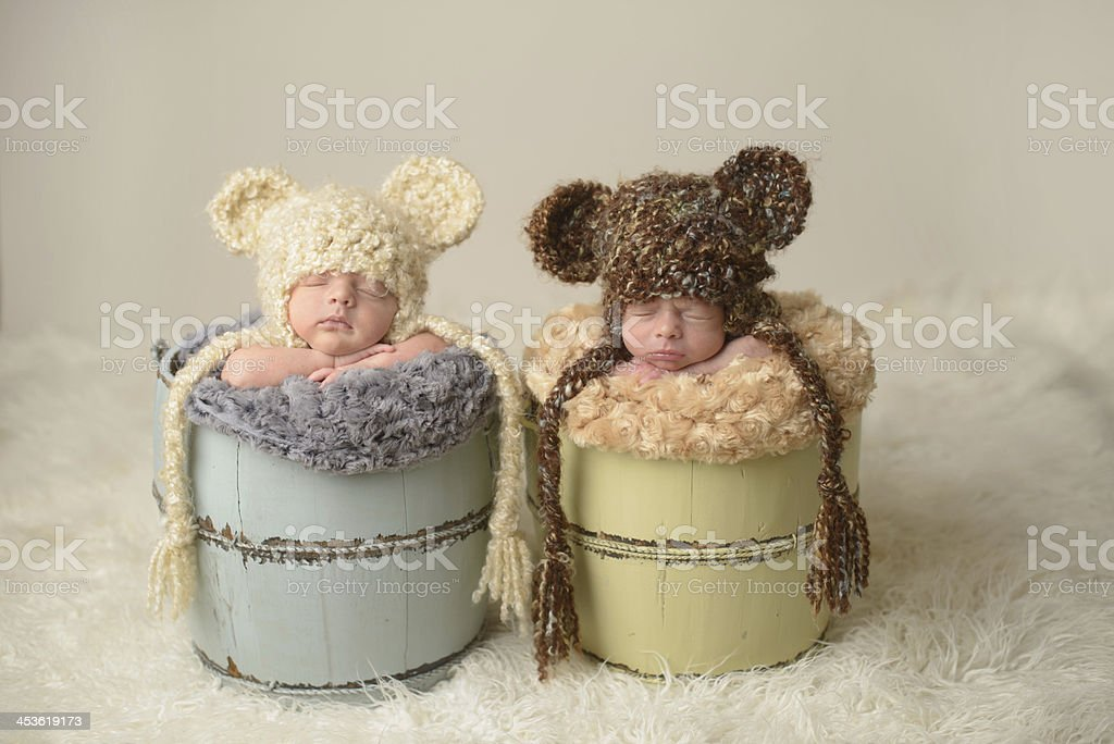 Newborn Twins Sleeping in Buckets royalty-free stock photo
