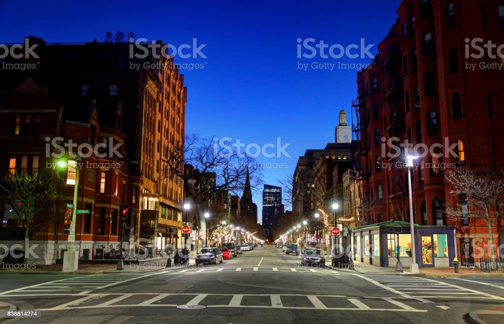 Newbury Street in Boston, Massachusetts stock photo