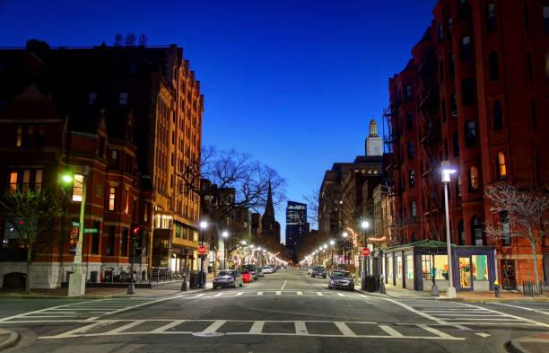 Newbury Street in Boston, Massachusetts stock photo