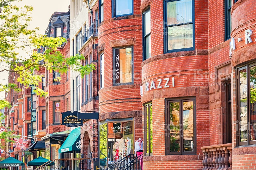 Newbury Street Shopping District in Boston Massachusetts USA stock photo