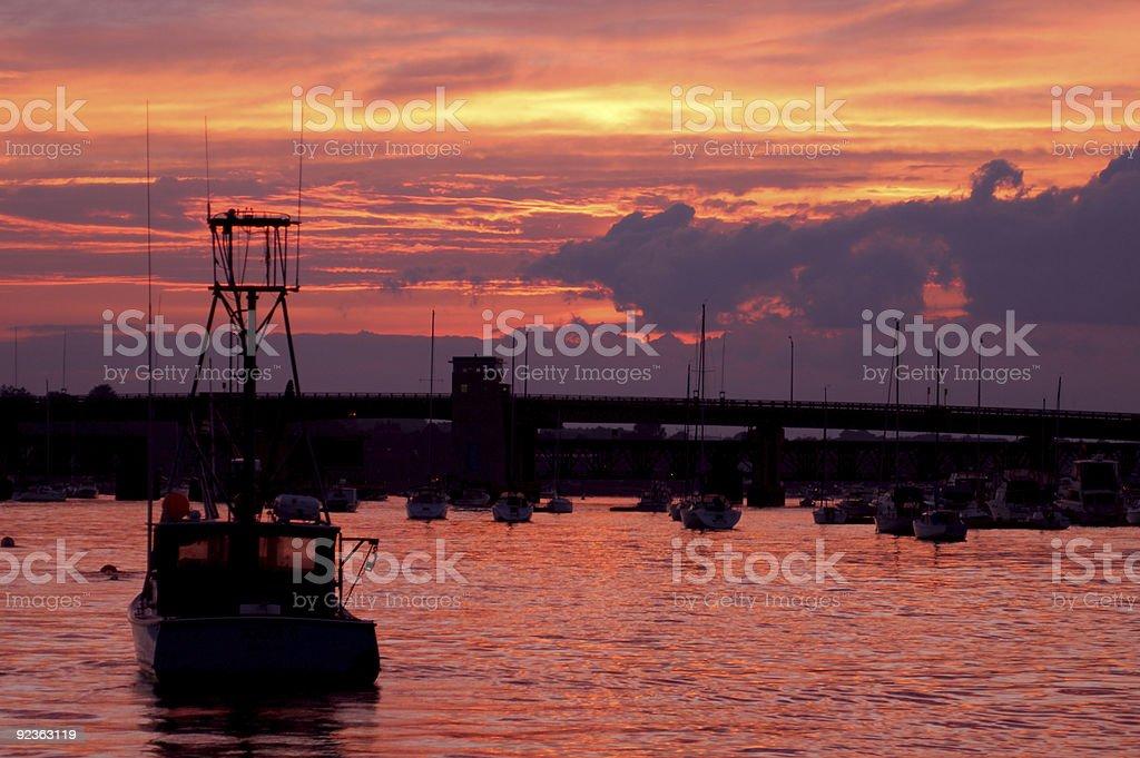 Newburyport Harbor at night royalty-free stock photo