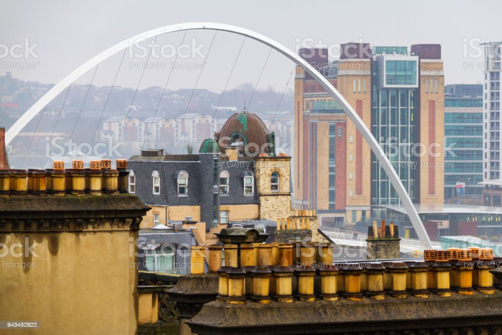 Newcasstle Millennium Bridge and The Baltic Centre for Contemporary Art viewed from Tyne Bridge stock photo
