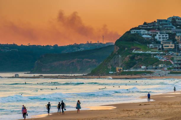 Newcastle Beach Australia at sunset. Newcastle is Australia's second oldest city. stock photo