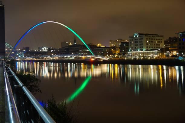 Newcastle bridges on the river Tyne at night stock photo