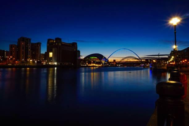 Newcastle bridges on the river Tyne at sunset stock photo