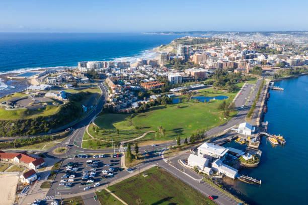 newcastle cbd - nsw australia - aerial view - headland stock pictures, royalty-free photos & images