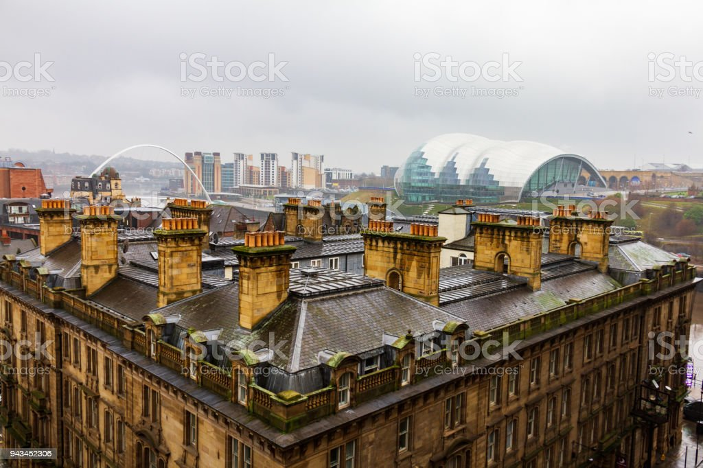 Newcastle city centre with Quayside viewed from Tyne Bridge stock photo