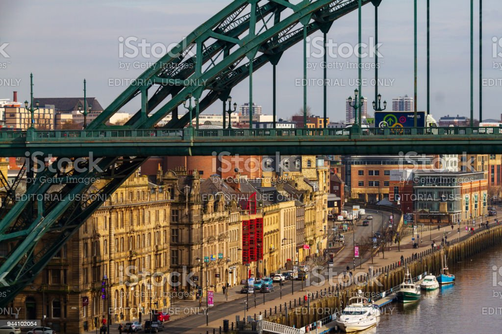 Newcastle city Skyline with Tyne Bridge in view at Newcastle Quayside stock photo