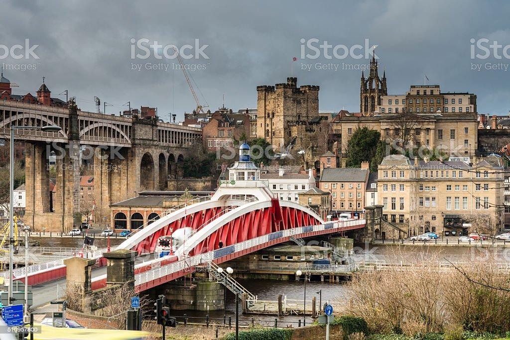 Newcastle Keep beyond the Swing Bridge stock photo