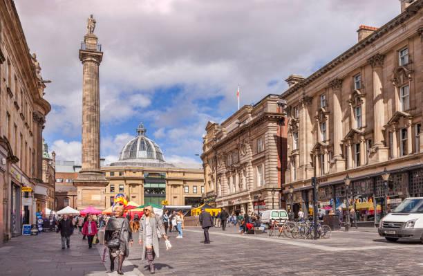 Newcastle on Tyne, UK,  Grey Street and Shoppers stock photo