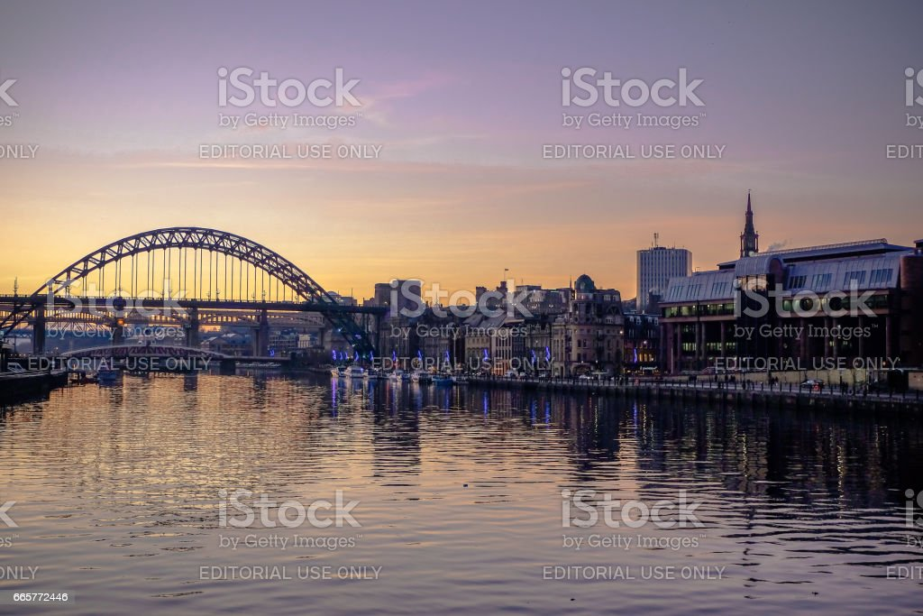 Newcastle Quayside at sunset stock photo