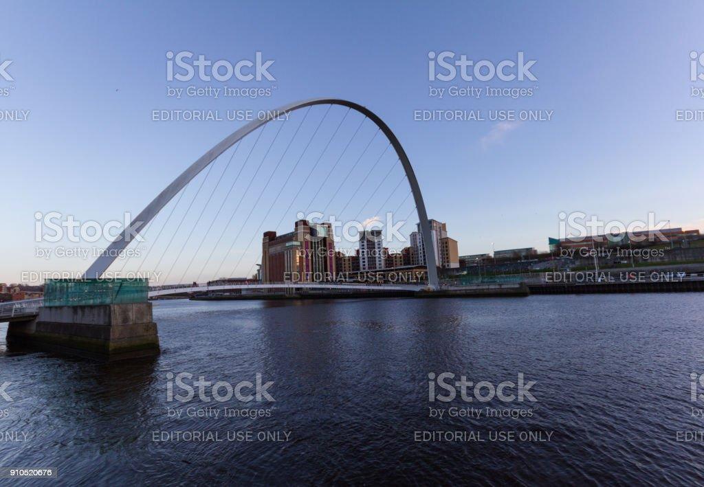 Newcastle Quayside- Gateshead Millenium Bridge and the Baltic in sight stock photo