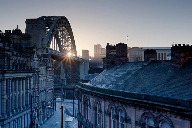 newcastle quayside morning - gateshead stock photos and pictures