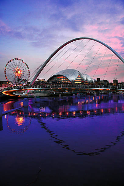 newcastle quayside sunset - gateshead stock photos and pictures