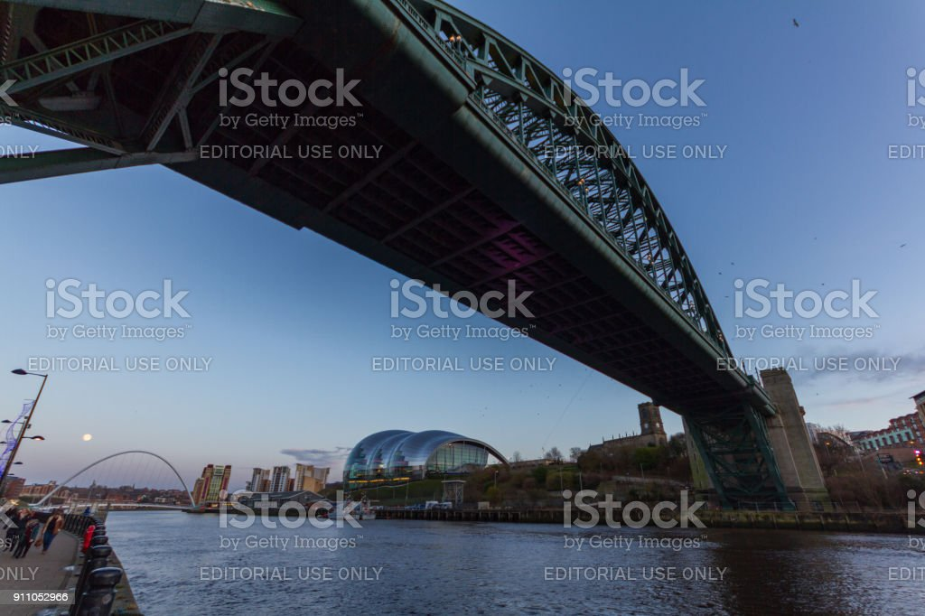 Newcastle Quayside with Tyne bridge in the foreground and the Millennium bridge Sage concert hall and other landmarks in the background stock photo