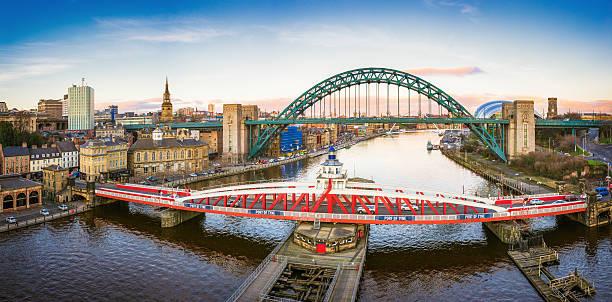 Newcastle River Tyne and City Panorama stock photo