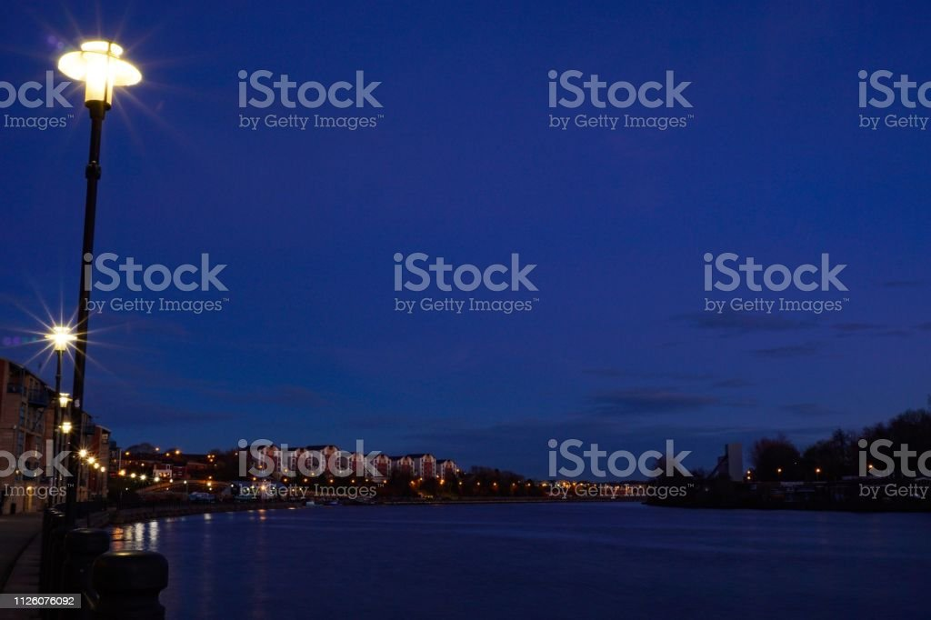 Newcastle river Tyne at sunset stock photo