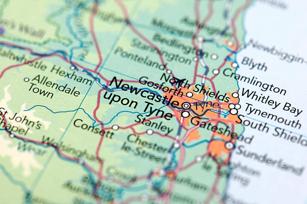 Newcastle, Scotland Map of Newcastle. Selective Focus.  northeastern england stock pictures, royalty-free photos & images