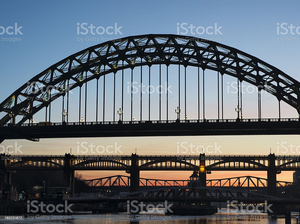 Newcastle Tyne bridge at sunset - iconic landmark of Northeast royalty-free stock photo