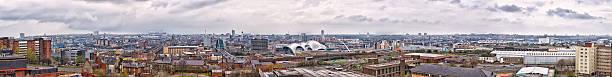 Newcastle upon Tyne cityscape panorama from Gateshead stock photo