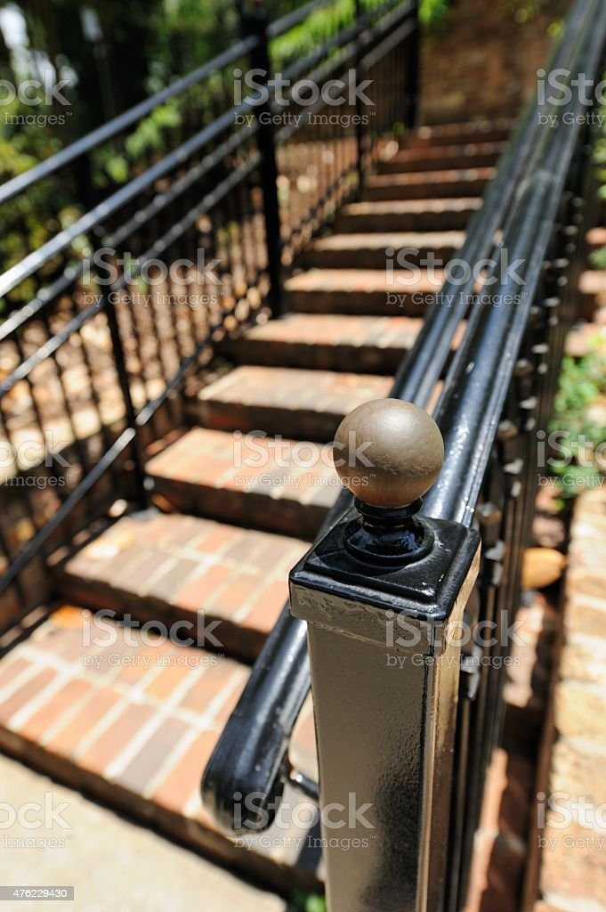 Newel post on outdoor staircase stock photo