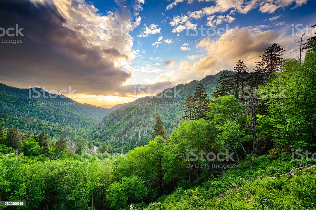 Newfound Gap in the Smoky Mountains stock photo