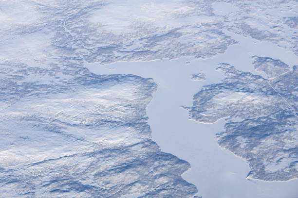 Newfoundland And Labrador Winter Aerial stock photo