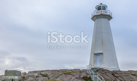 The windswept hills, lighthouses and rugged coastline of Cape Spear National Historic Site in Newfoundland, Canada.
