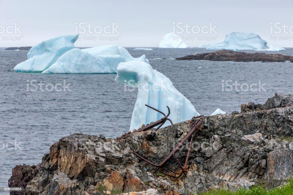 Newfoundland icebergs and anchor stock photo