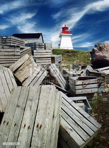 Newfoundland lighthouse and crab boxes