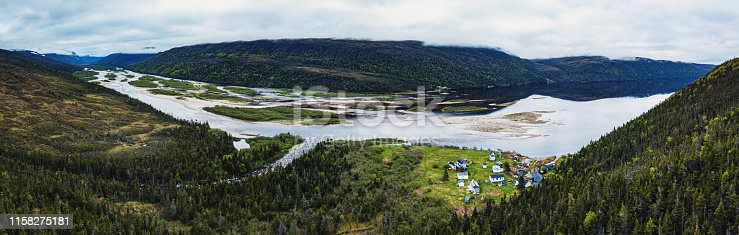 Aerial panoramic view of the tiny, seasonal village of North Bay located at the mouth of the LaPoile River.