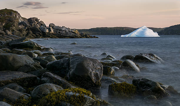 Newfoundland Rocks Iceberg & Sunset Both the rocks and the iceberg glow with a pink hue from the unseen setting sun, off the coast of St Anthony in Newfoundland Canada. st. anthony of padua stock pictures, royalty-free photos & images