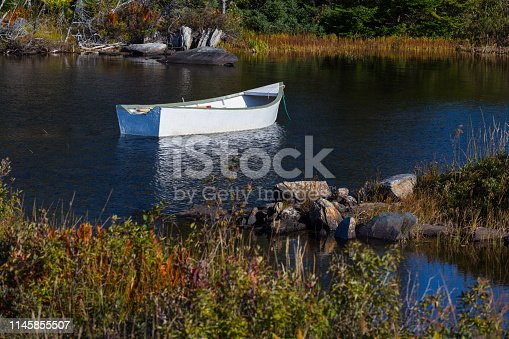 Rowboat moored in shallow water on a rural coast of Newfoundland, Canada.