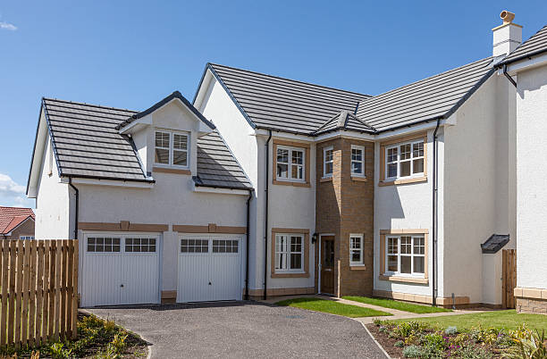 Newly built detached house. stock photo