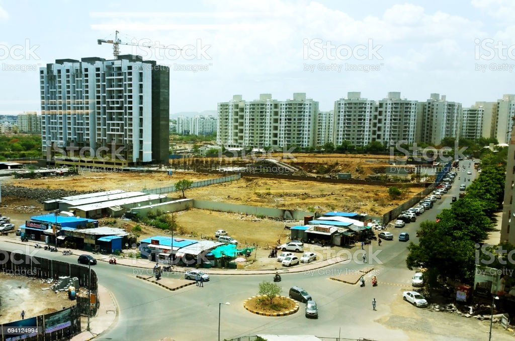 Newly constructed and under construction buildings in urban area in India stock photo