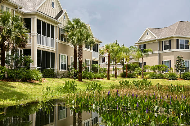 Newly constructed condominiums surrounded by palm trees stock photo