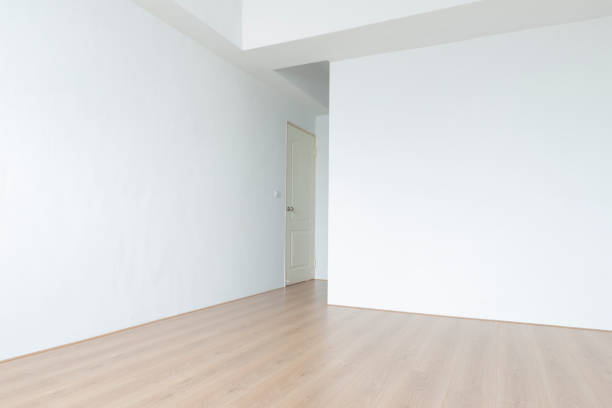 Newly constructed flooring and wall stock photo