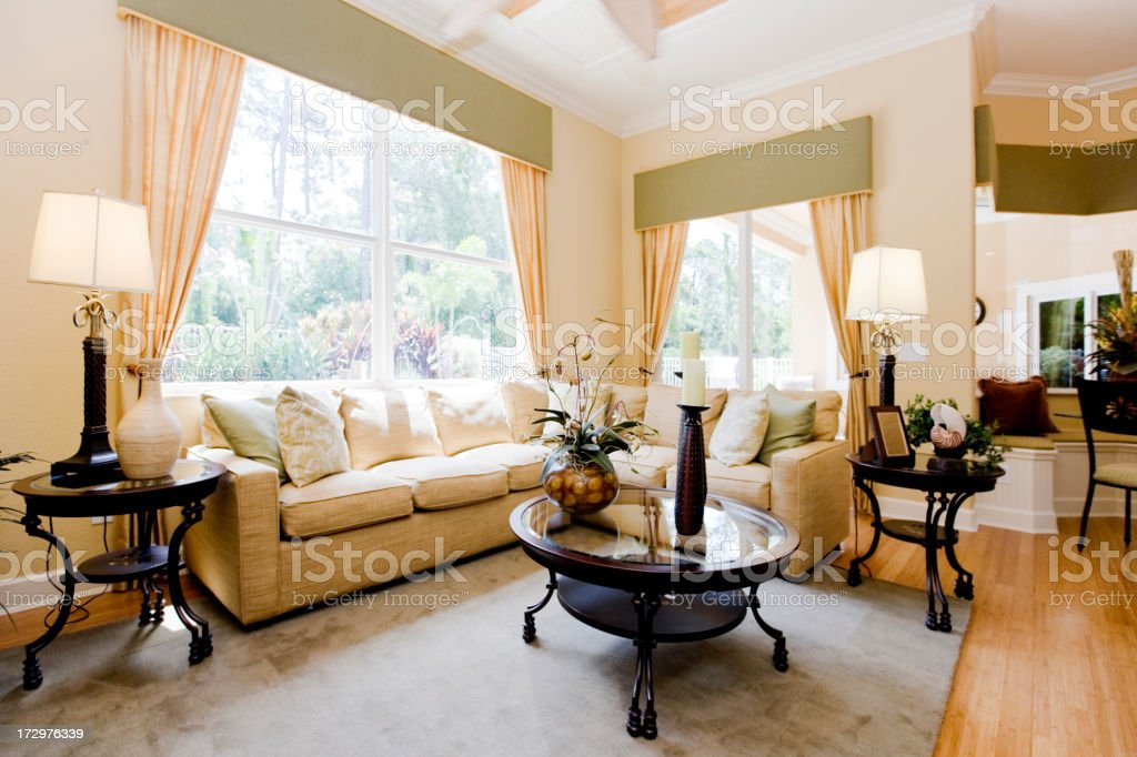 Newly decorated living room stock photo