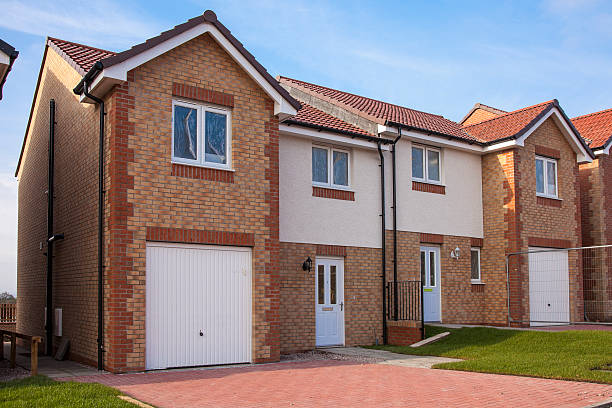 Newly finished semi detached housing. stock photo