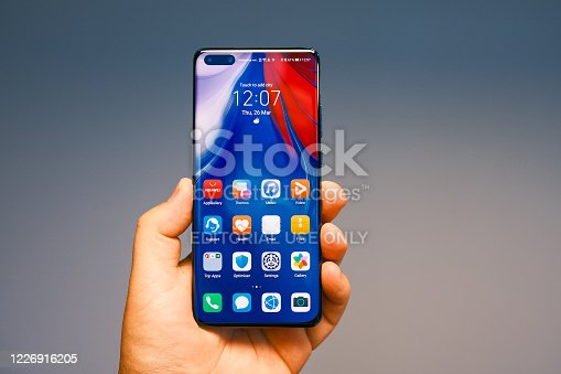 SAIGON, MAY 2020 - Newly launched Huawei P40 Pro smartphone is displayed for editorial purposes