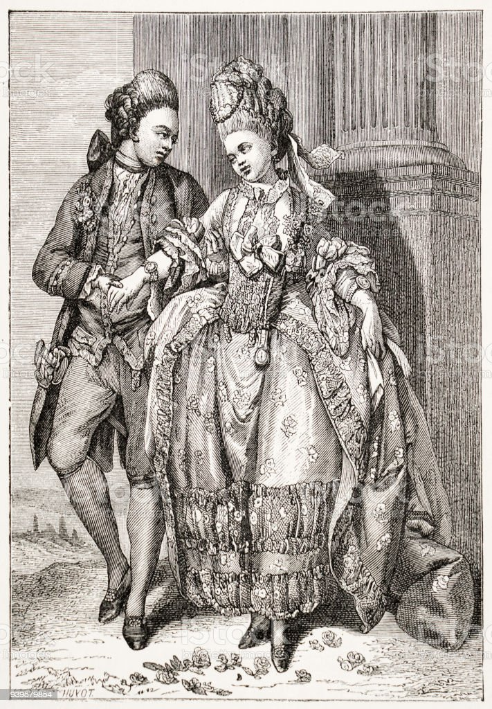 Newly Married Couple, 18th Century France stock photo