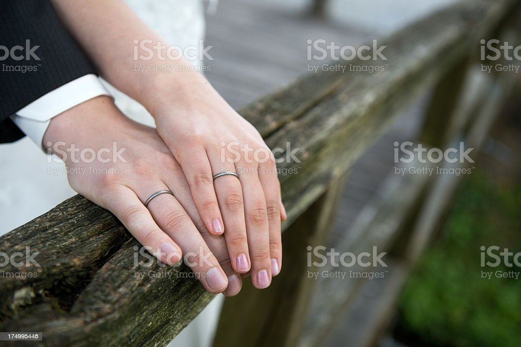 Newly married couple and her Wedding Rings stock photo