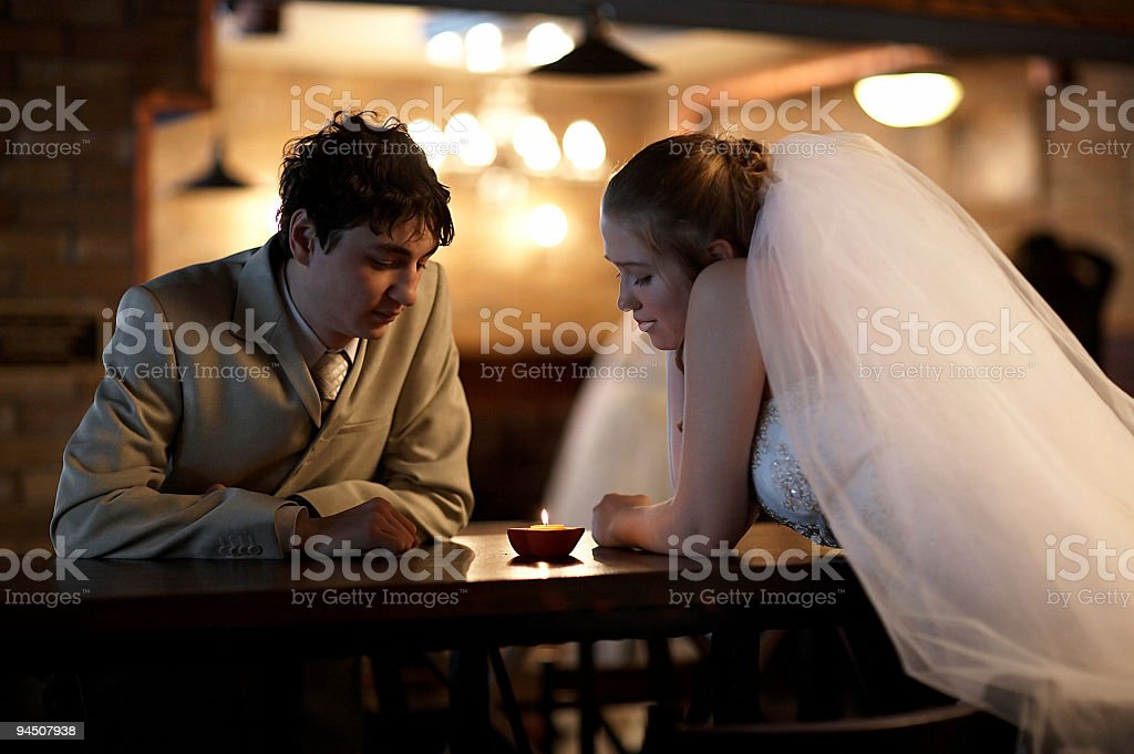 Newly married couple stock photo