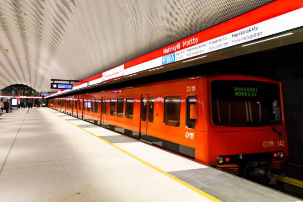 Newly opened subway in Matinkyla, Finland stock photo