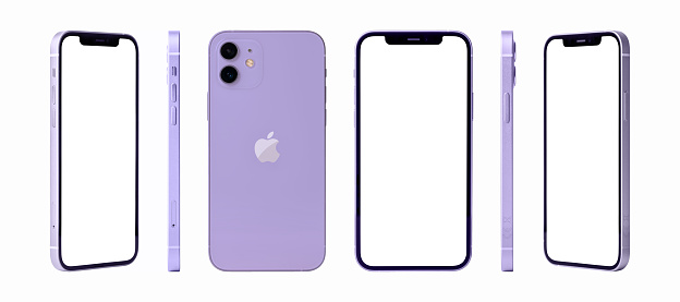 Antalya, Turkey - April 23, 2021: Newly released iphone 12 purple color mockup set with different angles