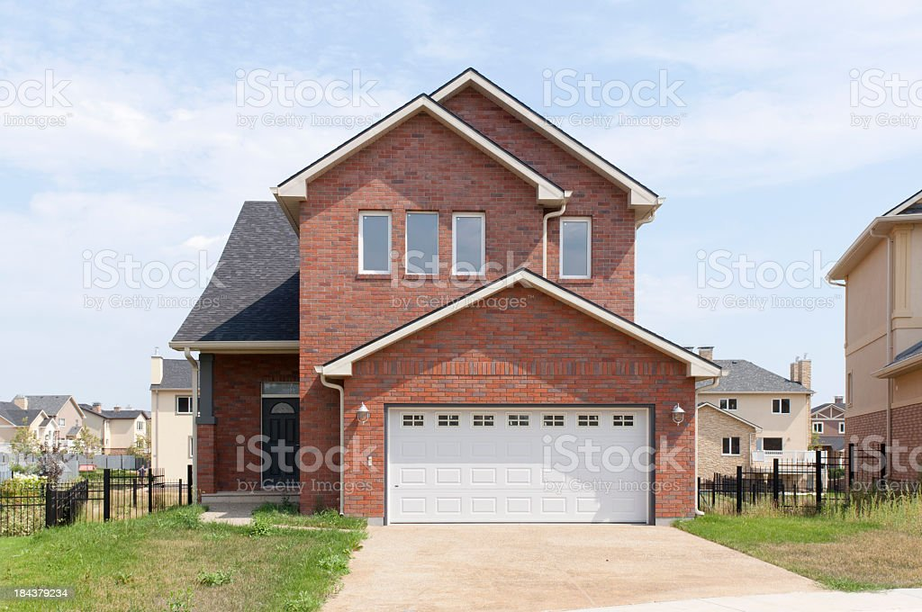 A newly renovated suburban household in the sun stock photo